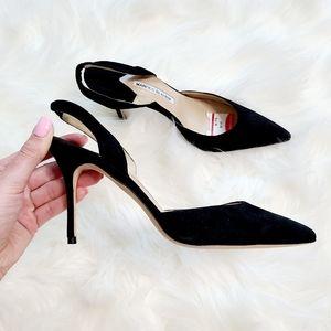 Manolo Blahnik Black Suede Pointed Toe Heels Sz 9